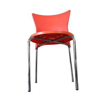 Stohovatelná plastová židle B2B - oranžová - 2. JAKOST - místy olopané chromování nohou