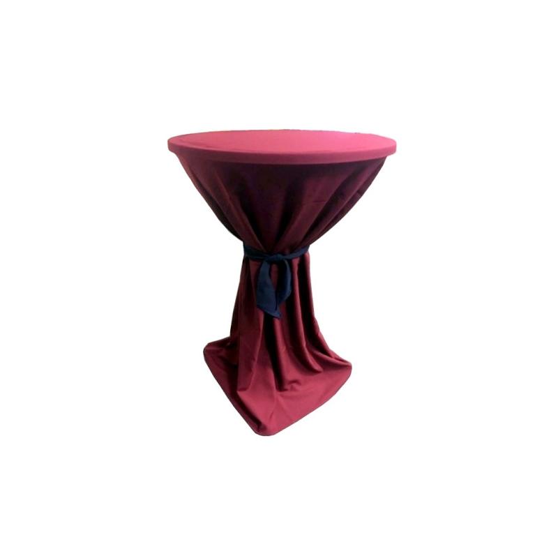 Venice - bordó ubrus na koktejlový stůl ∅ 80 - 85 cm s modrou stuhou