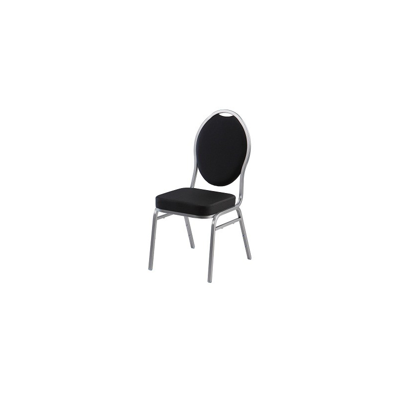 Banketová židle DIAMOND, černá, stříbrné nohy