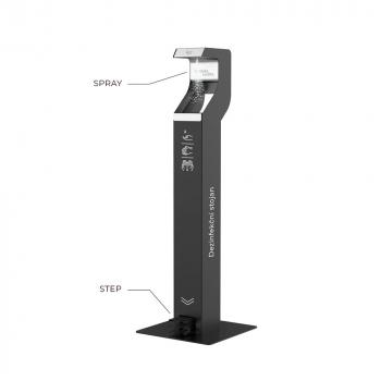 Designový bezdotykový dezinfekční stojan nášlapný, černý