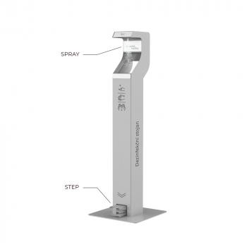 Designový bezdotykový dezinfekční stojan nášlapný, šedý