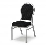 Banketová židle Seattle, černá, stříbrný rám