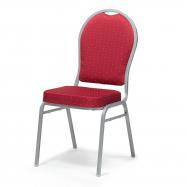 Banketová židle Seattle, červená, stříbrný rám