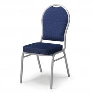 Banketová židle Seattle, modrá, stříbrný rám