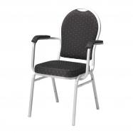 Banketová židle Seattle, s područkami, černá, stříbrný rám