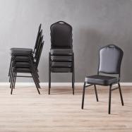 Banketová židle Chicago, černá koženka, černý rám