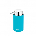 Volně stojící dávkovač tekutého mýdla s chromovanou dávkovací pumpičkou.