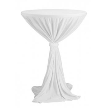 Venice - ubrus na koktejlový stůl ∅ 80 - 85 cm se stuhou, Bílá