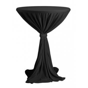 Venice - ubrus na koktejlový stůl ∅ 80 - 85 cm se stuhou, Černá