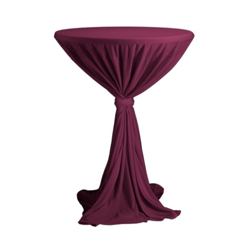 Venice - ubrus na koktejlový stůl ∅ 80 - 85 cm se stuhou, Bordó