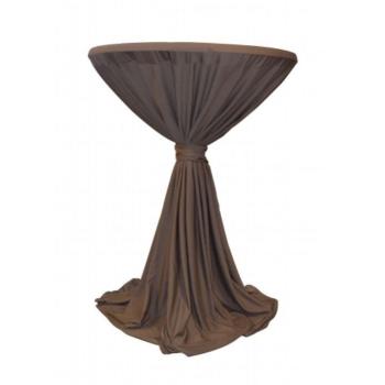 Venice - ubrus na koktejlový stůl ∅ 80 - 85 cm se stuhou, Hnědá