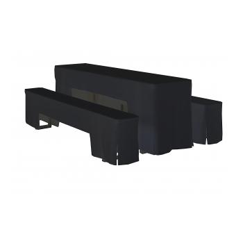 Arcade - sada ubrusů na pivní set, 220 x 50 x V78 cm, Černá