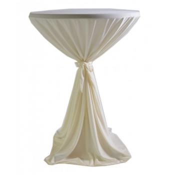 Sidney - ubrus na koktejlový stůl ∅ 70 cm se stuhou, Krémová