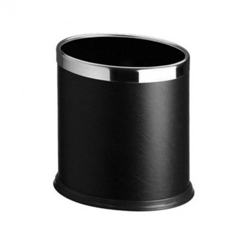 Koš oválný, kovový, dvouplášťový, černý se stříbrným kroužkem, 10l