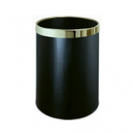 Odpadkový kulatý pokojový koš černý se stříbrným kroužkem, 10 l