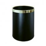Pokojový odpadkový koš v černém provedení sezlatým kroužkem, kulatý s objemem 10l