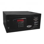 Hotelový sejf DP-B20MS, elektronická číselná kombinace (4 čísla), velký a dobře čitelný display, motorový pohon zámku, nouzové otevření univerzálním kódem nebo mechanickým klíčem, audit (100 vstupů), barva: černá, rozměry VxŠxH: 200x420x370 mm