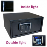 Serenity Laptop, elektronická číselná kombinace (4 čísla), podsvícená klávesnice, display, vnitřní osvětlení, motorový pohon, nouzové otevření univerzálním kódem nebo mechanickým klíčem, audit (100 údajů), barva: černá, rozměry VxŠxH: 200x420x370 mm