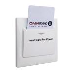 Spínač na připojení elektrických spotřebičů, funguje s plastovými kartami, časovač na 15 vteřin, jednoduchá instalace, 230V/50Hz, relé na 16A, barva: bílá