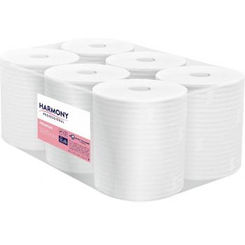 Papírové ručníky v roli Harmony Professional, 2vr., celulóza, bílé, 150m