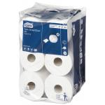 Systém Tork SmartOne© Mini toaletní papír jedinečným způsobem nabízí pokaždé jen jeden hygienický útržek a v porovnání s tradičními zásobníky na jumbo role snižuje spotřebu až o 40 %.