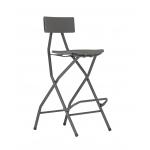 Barová skládací židle ALVAR NEWje vyrobena z polyethylenu a lakované oceli. Vhodná pro intenzivní veřejné použití. Sklopná opěrka na nohy umožňuje snadné skládaní, jednoduchá přeprava a skladování, prostorné a pohodlné sedadlo,voděodolná, ideální pro venkovní použití, maximální nosnost: 225 kg, výška sedáku 73 cm, výška k okraji opěradla 104 cm,ZÁRUKA: 5 LET