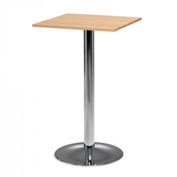 Barový stůl Siri, 700x700 mm, bukový masiv, chromovaná podnož