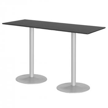 Barový stůl Luna, 1800x700 mm, HPL, černý, podnože hliníkový lak