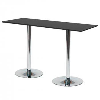 Barový stůl Luna, 1800x700 mm, HPL, černý, chromované podnože
