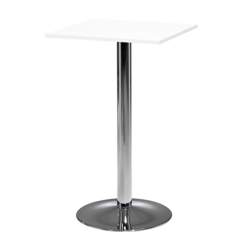 Barový stůl Bianca, 700x700 mm, HPL, bílý, chromované podnože