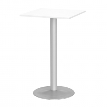 Barový stůl Bianca, 700x700 mm, HPL, bílý, podnože hliníkový lak