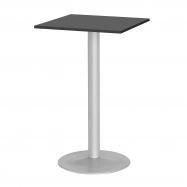 Barový stůl Bianca, 700x700 mm, HPL, černý, podnože hliníkový lak