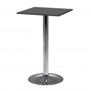 Barový stůl Bianca, 700x700 mm, HPL, černý, chromované podnože