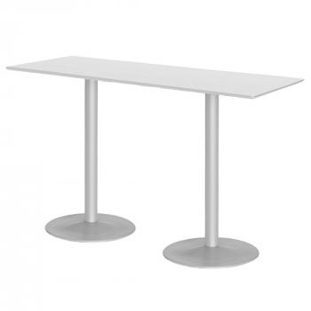 Barový stůl Luna, 1800x700 mm, HPL, bílý, podnože hliníkový lak