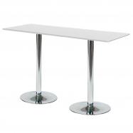 Barový stůl Luna, 1800x700 mm, HPL, bílý, chromované podnože