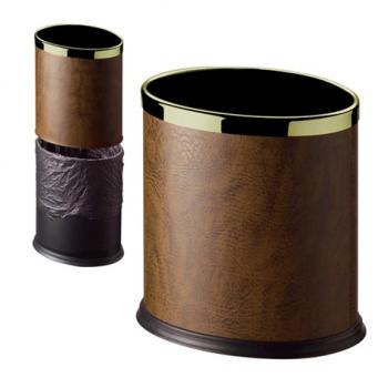 Odpadkový koš oválný, kovový, dvouplášťový, hnědý se zlatým kroužkem, 10l