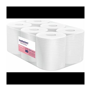Papírové ručníky v roli se středovým odvíjením Harmony Professional Maxi, 2vr., celulóza, bílé, 125m