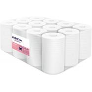 Papírové ručníky v roli se středovým odvíjením Harmony Professional Midi, 2vr., celulóza, bílé, 12x55m
