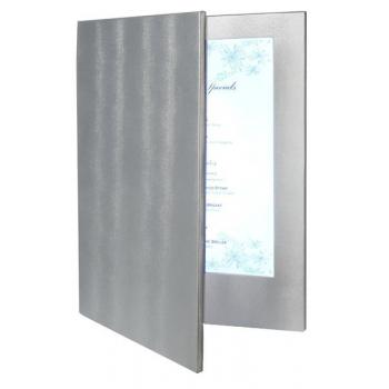 Dvojitý LED jídelní lístek Securit A4 - stříbrná