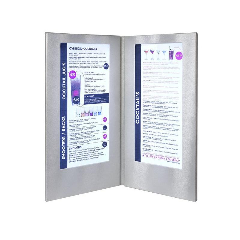 Dvojitý LED jídelní lístek Securit vysoký - stříbrná