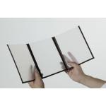 Jídelní lístek s průhlednými deskami, A4, trojitý (6 stran), sada 3 kusů, barva okrajů: hnědá