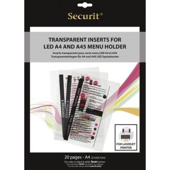 Transparentní vložka do LED jídelních lístků Securit, vhodné pro tisk na laserové tiskárně