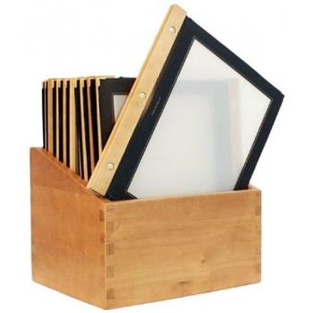 Box s jídelními lístky Securit Wood Line - černá