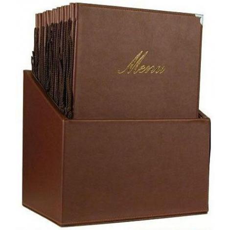 Box s jídelními lístky Securit Classic - hnědá