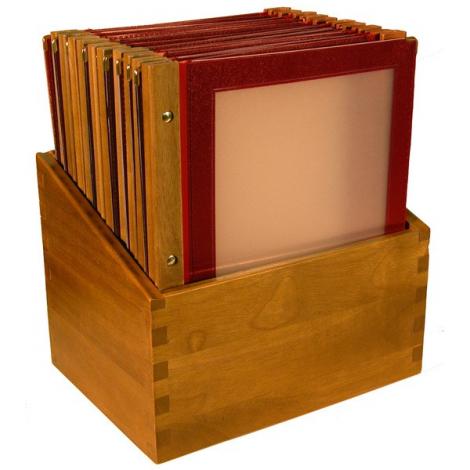 Box s jídelními lístky Securit Wood Line - vínově červená