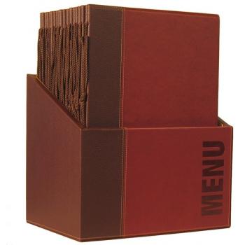Box s jídelními lístky Securit Trendy - vínově červená