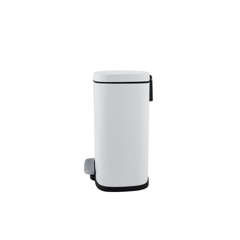 Hranatý odpadkový koš s vyjímatelnou nádobou, bílý mat