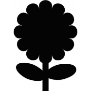 Popisovací tabule Securit Silhouette KVĚTINA, vč. popisovače a upevňovací pásky na stěnu - černá