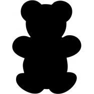 Popisovací tabule Securit Silhouette MEDVÍDEK, vč. popisovače a upevňovací pásky na stěnu - černá