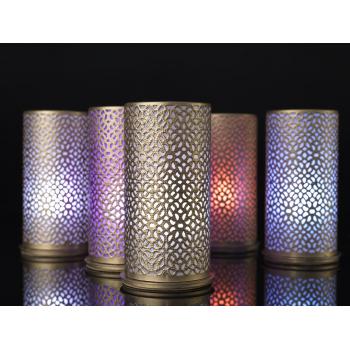 Stříbrný kovový svícen pro LED svíčky